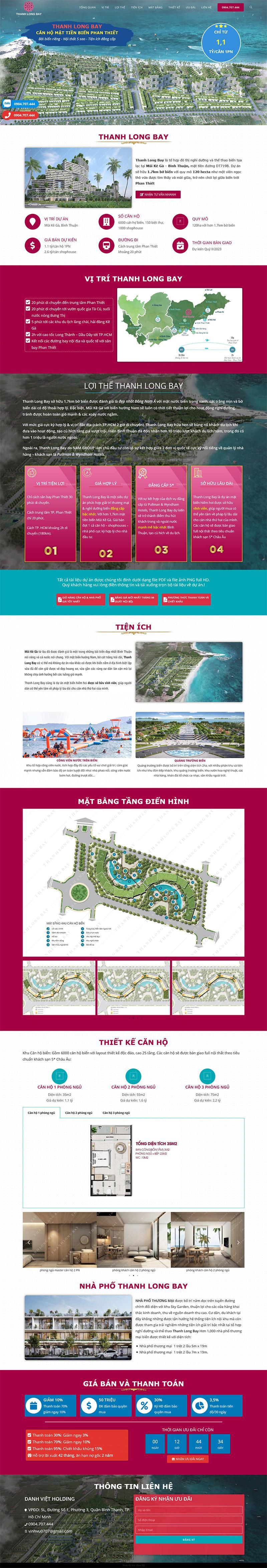 Landing Page Thanh Long Bay 2