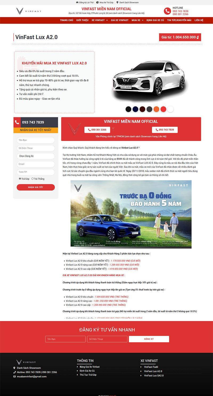 Các Mẫu Website Bán Ô Tô Vinfast 4