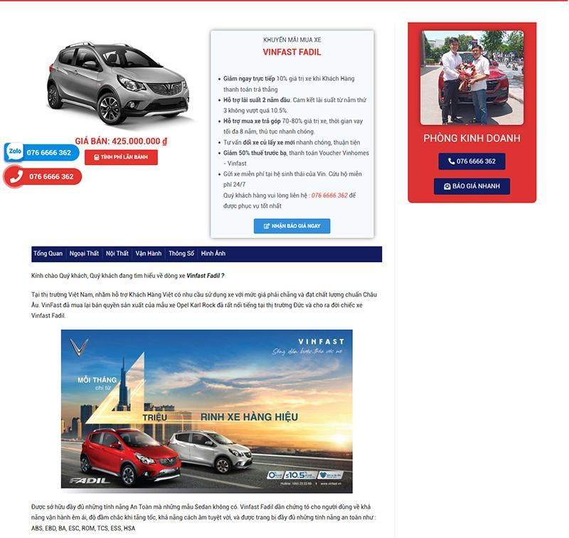 Các Mẫu Website Bán Ô Tô Vinfast 6