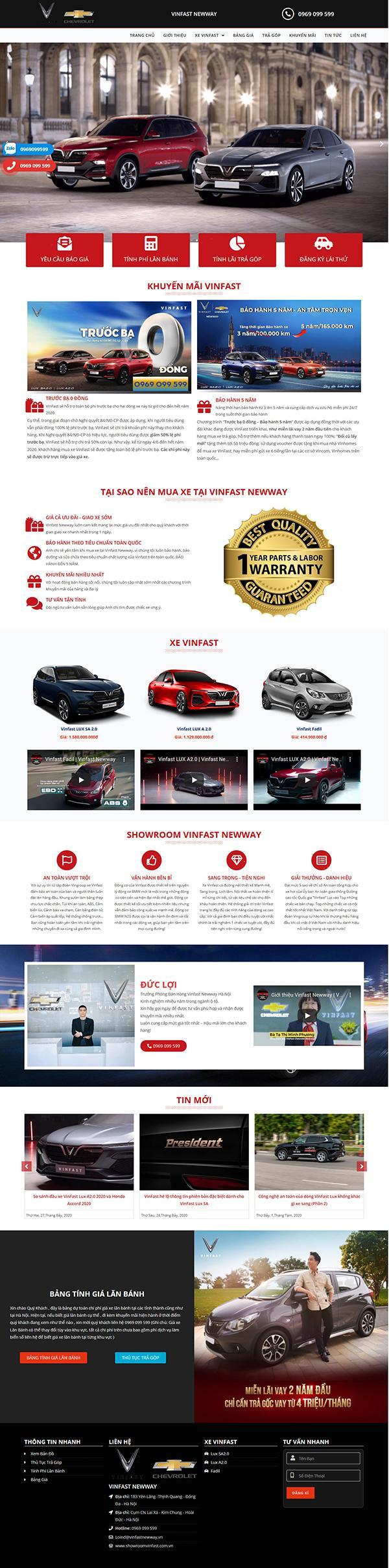 Các Mẫu Website Bán Ô Tô Vinfast 3