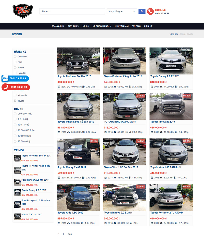 Website Xe Cũ Fastcar 2